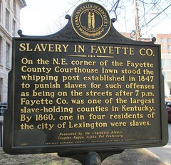 Slavery in Fayette County Marker (Lexington, Kentucky) (courthouselover) Tags: kentucky ky courthouseextras fayettecounty lexington kentuckyhistoricalmarkers lgbt lgbtq gayvillages gaycommunities lgbtqcommunities lgbtcommunities northamerica unitedstates us