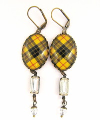 Ancient Romance Series - Scottish Tartans Collection - MacLeod of Lewis (Yellow) Earrings with Vintage Rhinestone and Swarovski Crystal