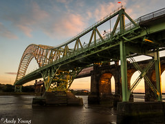 Sunset under Runcorn bridge (1 of 16) (andyyoung37) Tags: sunset reflections mersey runcorn runcornbridge