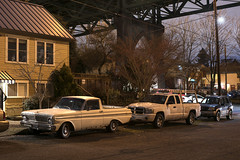 Edison Street (Curtis Gregory Perry) Tags: portland oregon night ford ranchero stjohns bridge car truck dodge pickup suzuki edison street philadelphia pdx longexposure nikon d810 50mm f12 falcon 1964 1965