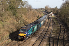 68016 trails out of Reedham working 2J78 1405 Norwich - Lowestoft 13/3/2017 (Paul-Green) Tags: class 68 68016 68003 vossloh eurolight diesel engine loco locomotive 1405 norwich lowestoft aga abellio greater anglia passenger service reedham jn junction bridge drs direct rail services uk gb railways flickr canon 7d mk2 mark ii outdoors sunny afternoon march 2017 norfolk stock lchs trains 2j78