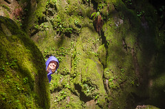 Green Screen Portrait (Tom Fenske Photography) Tags: portrait flickrfriday woman girl nature outdoors wilderness waterfalls green moss face smile greenscreen spotlight