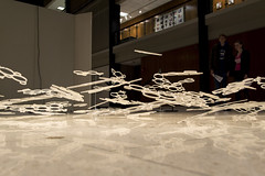 Art Floating Over the Floor (aaronrhawkins) Tags: float art artistic reflection hanging transparent project harrisfineartcenter byu brighamyounguniversity student disc plastic floor ceiling hover aaronhawkins
