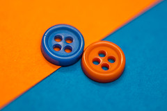 Macro Mondays - Orange and Blue (Sharon Meyer) Tags: macromondays macro blue orange blueandorange buttons cardstock orangeandblue