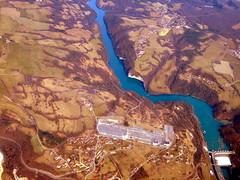 The dammed Rhône (oobwoodman) Tags: aerial aerien luftaufnahme luftphoto luftbild mucgva france frankreich bellegarde rhône rhone dam barrage damm electricity hydropower hydroelectricity génnissiatsubstation