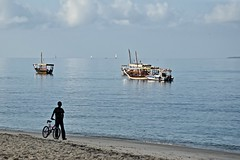 Dreaming of a Life on the Sea (The Spirit of the World) Tags: zanzibar stonetown unescoworldheritagesite fishing daydreaming sea ocean africa indianocean calm calmseas boy bicycle locals candid sand beach boats dhows