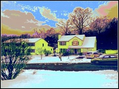 Winter Sunset - Edited Photo Created by STEVEN CHATEAUNEUF On March 24, 2017 (snc145) Tags: winter seasons landscape scenery sky clouds sunset dusk buildings architecture snow trees bush road street cars photo photoshop editedimage creative artistic digitalart colors colorful bright bold vivid february52015 march242017 processing stevenchateauneuf vividstriking