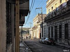 ... (Jean S..) Tags: street cars cuba matanzas balcony outdoor day sky buildings blue shadows