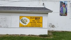 ENJOY BEEF. REAL FOOD FOR REAL PEOPLE. (Dan Keck) Tags: ohiobeefcouncil ohiocattlemensassociation ohiocattlewomensassociation hockingcountycattlemensassociation grandstand county fair livestock agriculture meat cowman rancher cattle sign advertisement food marketing