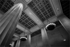 ATT (Chris Protopapas) Tags: newyorkcity lobby architecture doric broadway sony samyang chandelier marble column coffered ceiling manhattan att neoclassical fluted corporate bw