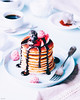 Buttermilk pancakes with warm chocolate sauce and raspberry dust (ErinaMak) Tags: pancake fujixt1 dusted buttermilk sauce whipped sweet pink fruit dessert coffee chocolate fujifilm topping stilllife blueberry blue raspberry foodphotography blackberry drizzling powder sweets treat tabletop foodstyling xf60mm cream cocoa frozen
