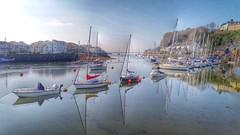 Portmadog harbour reflection.