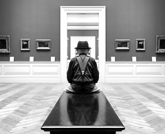 Finding Symmetry (Joseph Dimartino) Tags: man male person surreal symmetry alone art ambiguous faceless blackandwhite bw conceptual dimensions exit doors paintings fineart female face doorway endless individual isolated introspective monochrome museum mask prison quiet separate