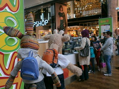 Heading for the juice bar, Westfield Centre, 19 May 13 (Castaway in Scotland) Tags: england rabbit london toy hare olympus giraffe jellycat d700