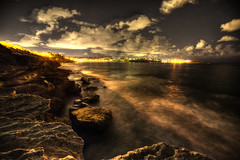 Coogee beach in night time, Sydney (Chaiwat lee) Tags: china city travel blue light sea vacation two sky urban black color building tower nature water field skyline architecture night skyscraper buildings dark way stars landscape outdoors star evening harbor town office high asia downtown ship cityscape exterior district background space center scene hong kong business fantasy backdrop astronomy scape