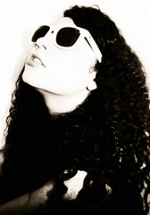 Black and white (AndreFloresv) Tags: bw white black girl sunglasses vintage pose hair photography model 60s andrea retro curly