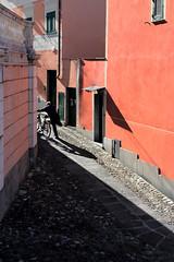 La salita (meghimeg) Tags: shadow sun man building bike colours ombra explore uomo bici sole colori lavagna palazzi bicicletta salita 2013