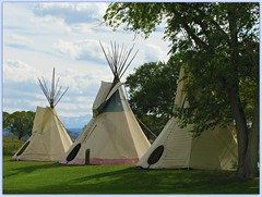 Ute Indian Museum teepees (jimsawthat) Tags: clouds colorado nativeamerican teepees montrosecolorado uteindianmuseum