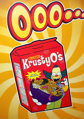 Frosted Krusty O's (See El Photo) Tags: ad advertisement simpsons thesimpsons cartoon clown krusty krustytheclown haha ooo greenhair drawn animated animation tv tvshow show program red yellow cereal yum fun funnny food cerealbox box art draw comic character worms gross frosted krustyos california burbank color colour colore colorful bowl faved fav favorite 15fav