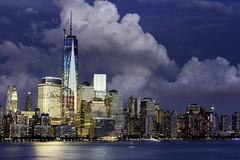 Night and Day (DP Photography) Tags: nyc newyorkcity ny newyork skyline skyscrapers manhattan manhattanskyline nyskyline hudsonriver redwhiteandblue lowermanhattan freedomtower nydowntown colorsoftheamericanflag