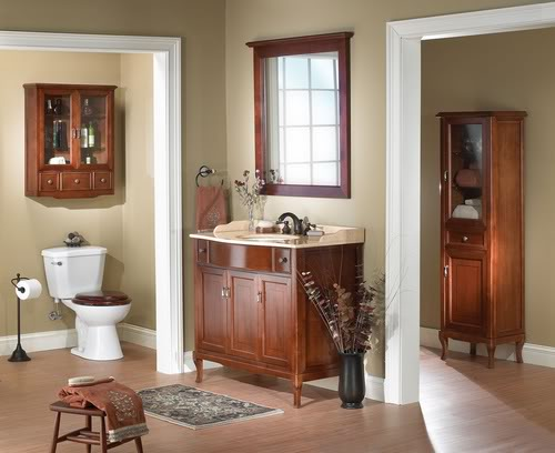 Banheiro decorado com madeira