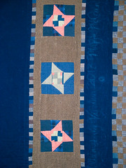 P8141275 (MizGingerSnaps) Tags: pink blue summer usa brown green night virginia sand quilt mud recycled linen contemporary gray navy khaki indigo august nightshift cotton clay solids quilting medallion finished williamsburg quilted freehand patchwork improvised scrap cobalt primitive 25years pinkandgreen day226 improvisational 9patch makingdo vintagefabrics fourelements handquilted 52weeks upcycled blueandbrown week33 machinepieced 2013 3352 perlecotton machinequilted airearthfirewater sandseaskystars