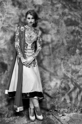 Klaudia Malkova sports fashinoable Indian Bridal Wear - Black and White -