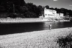 - Tama River (lemonhats) Tags: red reflection japan river glare candid bank filter tama vintagecamera push process f8 1500 analogphotography  classiccamera kodaktmax100 filmphotography canonetql17giii 100400 tokyoto filmisnotdead push2stops filmforever push400 kodakforever blackandwhite marumimcr2
