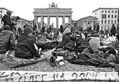 (Adel Ka) Tags: people blackandwhite bw woman berlin germany refugee protest hunger strike brandenburgertor