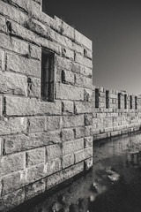Fort Popham (Robert Allan Clifford) Tags: bw monochrome river harbor blackwhite war day fort military curtain maine newengland sunny clear granite coastline fortification moat atlanticocean fortified kennebecriver fortpopham phippsburg musketport robertallanclifford cliffordphotographynhcom
