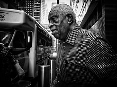 Passing Time (Ross Magrath) Tags: from street camera new york old city nyc summer portrait bw usa white man black hot streets colour face weather contrast digital america wonderful dark photography mono weird high noir shadows gloomy serious pentax manhattan no candid character united north streetphotography sunny v elderly shade unknown shooting cropped format imaging gloom gr states hip agus ban drama miserable et blanc ricoh sneaky compact sensor humid informal dubh apsc rossmagrath
