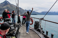 A Right Poser (Jocey K) Tags: newzealand sky people lake mountains clouds landscape hills nz southisland centralotago queenstown steamboat lakewakatipu tssearnslaw edwardianvintagetwinscrewsteamer