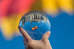 Reichstag, Berlin (landscape format) (Lens Daemmi) Tags: berlin glass ball germany landscape deutschland politik globe crystal flag politics reichstag german format bundestag flagge deutsche glaskugel querformat spiritofphotography