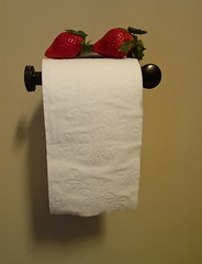Two Strategically Placed Strawberries for Easy Snacking While in the Bathroom at Woody's House (ricko) Tags: fruit bathroom strawberries toiletpaper holder woodyshouse mdpd2014 mdpd1402
