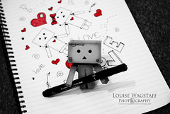 Doodle Danbo. (loulovesdanbo) Tags: red cute love pen hearts photography mono photo blackwhite heart sweet drawing valentine romance doodle doodling notepad selectivecolor danbo colorpop danbophotography