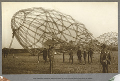 'India Office Official Record of the Great War'. - caption: 'The wrecked Zeppelin brought down by our aviators near the coast of Essex. The skeleton of an airship which crashed in a field. 1915.'