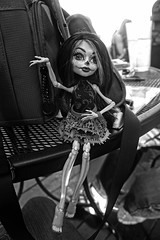 Skelita Downtown (Cerulean Fish) Tags: white lake black monster skeleton high orlando doll downtown dolls florida grayscale calaveras eola caleveras scaris skelita orlando315
