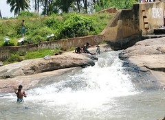 india (gerben more) Tags: shirtless india men waterfall bathing washing southindia