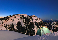 Tim Jones Peak, by moonlight (Christopher J. Morley) Tags: camping mountain snow canada green night vancouver jones tim spring nikon north peak tent hike 2nd mount moonlit shore moonlight glowstick seymour overnight d600