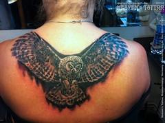 Owl Tattoo 2527 (Stefan Beckhusen) Tags: art tattoo germany studio deutschland owl heavens birdsofprey braunschweig niedersachsen eule