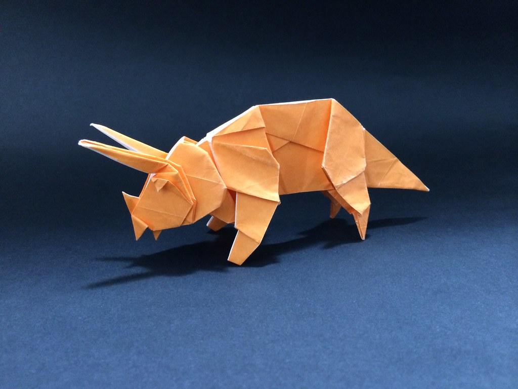 Triceratops Sakusaku858 Tags Origami Dinosaur