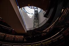 LIBRARY ROCKET (CJs STUDIO) Tags: light shadow red sky colour glass floors birmingham pattern lift library space books rocket levels shaft birminghamlibrary