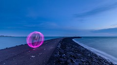 Light ball (Ellen van den Doel) Tags: 2017 januari landscape lanschap nature natuur nederland netherlands ocean sea water waterscape zee scherpenisse zeeland nl light hour blue evening orb ball long le exposure pier outdoor ellenvandendoel d750 nikon