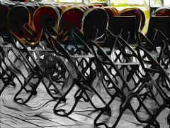 Stools and Chairs (Steve Taylor (Photography)) Tags: stool chair art digital brown black grey yellow abstract selectivecolour newzealand nz southisland canterbury christchurch city artgallery emptychair tiles