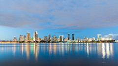San Diego Skyline (russellstreet) Tags: reflection california unitedstatesofamerica night sandiego sandiegoskyline usa