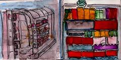 die Bio Milch war längst abgelaufen und der Salat ließ sich hängen (raumoberbayern) Tags: sketchbook skizzenbuch tram munich bus strasenbahn pencil bleistift ballpoint paper papier robbbilder stadt city landschaft landscape spring frühling summer sommer trip germany supermarkt escalator rolltreppe supermarket regal rack bio
