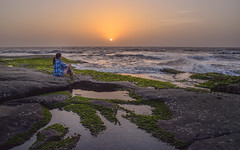 A young girl enjoys the lovely sunset! (@the.photoguy (insta)) Tags: sea ocean rocks outdoors blue nature explore travel india landscape seascape sunset girl mood free waves ponytail blueshirt relaxed candid maharashtra 2017