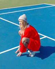 Anastasia (J Trav) Tags: portrait woman colorful red tenniscourt california blonde model pose beautiful blue green tennis