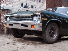 Road Warrior (Chosen at Random) Tags: green nova car rust decay chevy m42 1972 manualfocus e420 vivitar28mm25