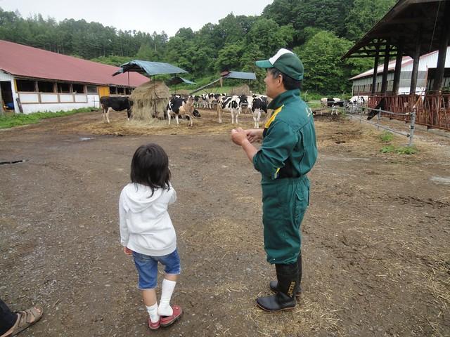 娘はオーナーさんに「牛さんたちは何時に寝ますか?|三部牧場ハルニレのツリーハウス